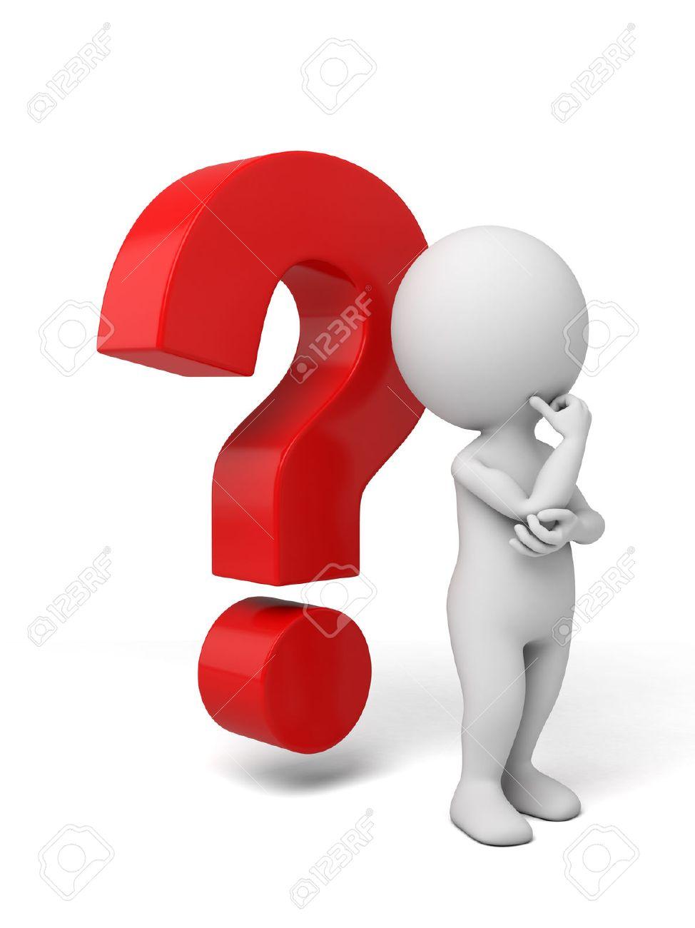 35967880 3d petite personne qui reflechit avec un grand point d interrogation 3d image fond blanc isole